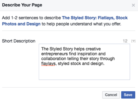 Description to your Facebook Page